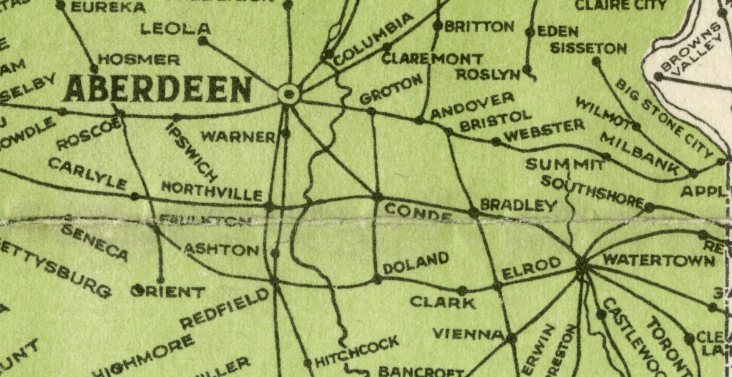"The back of the Mayor of Aberdeen's stationery highlighted the main selling points of locating business in Aberdeen. Note the number of rail lines eminating from both Aberdeen and Watertown. They are the same, yet savvy business people in Aberdeen dubbed us the ""Hub City of the Dakotas"" claiming economic development rights over the entire region."
